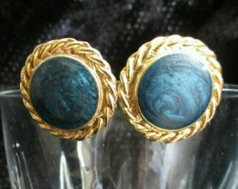 Blue swirl Cabochon rope Earrings gold tone Chunky pierced Statement Runway blue earrings denim button  Fashion jewelry round big
