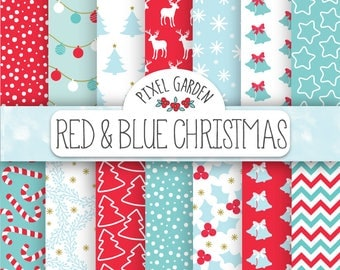 70% OFF SALE. Red Christmas Digital Paper. Red, Blue, Mint, Aqua Christmas Background. Holiday Scrapbook Paper. Snowflake, Deer, Snow.