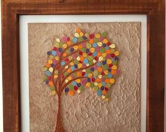 Mosaic wall art. Mosaic wall decor. Mosaic wall hanging. Colorful tree. Fall tree