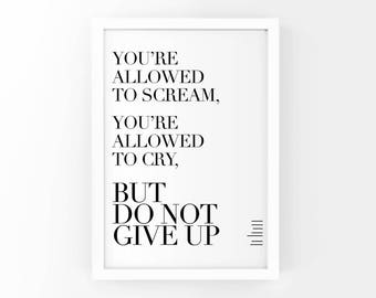 Motivational Poster, Print, Typographic Art, Art Print, But Do Not Give Up, Wall Decor, Inspirational Poster, Home Decor, Poster, 8x10
