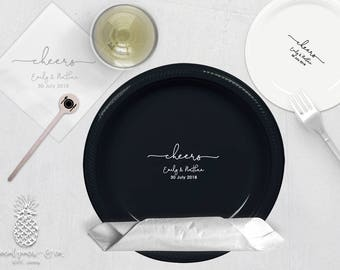 Wedding Cheers   Customizable Party Plates, Napkins or Cups   Weddings, Engagement Bridal Parties or Shower   social graces and Co