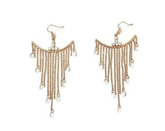 Gold Chandelier Earrings - Gold Earrings Chandelier - Long Gold Earrings - Long Chandelier Earrings - Gold Boho Earrings - Long Earrings