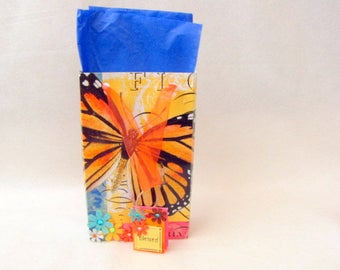 Handcrafted Butterfly Gift Bag ~ Paper ~ Gift Tag ~ Blessed ~ Flowers ~ Monarch Butterfly ~ Jewelry and Box Not Included