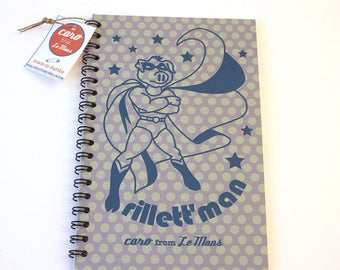Paper spiral notebook recycled Rillett'Man vintage child and adult