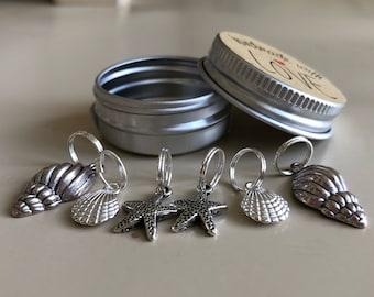 Marker Knitting Stitch, Set of 6 Stitch Markers,   Seaside Stitch Markers, Snag Free, Knitting Markers, Ring Markers, Crochet Markers,