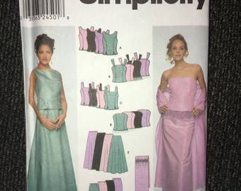 Uncut Simplicity #9466 Size RR 14–16-18-20 Evening Dress - Wrap, Top & Skirt Circa 2000