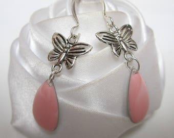 butterfly earrings and her Teardrop pink enamel