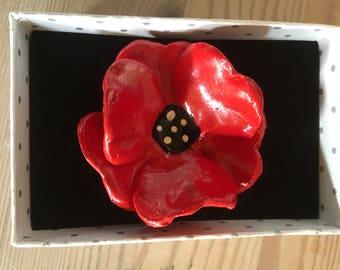 Ceramic poppy brooch