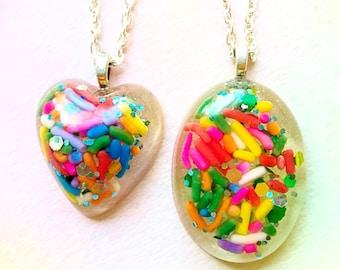 Colorful resin necklace Kawaii necklace Kawaii jewelry Cute necklace Resin jewelry Candy necklace Candy jewelry Sprinkle necklace Girly gift