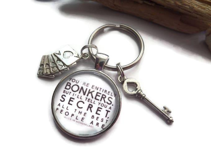 Alice keyring, glass dome 25mm, bonkers keyring, alice wonderland, wonderland gift, bonkers keyring, entirely bonkers gift, sandykissesuk