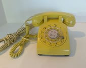 Retro Rotary Dial Telephone, Yellow Phone, Gold Telephone, Western Electric, Desk Phone, Theater Prop, Phone with Handset