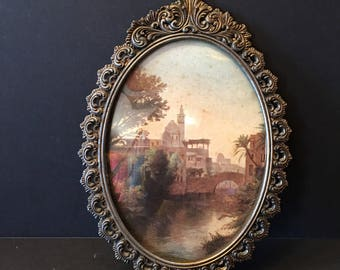 Italian Picture ~ Metal Frame ~Victorian Style ~ Buildings and Bridge ~ Shabby Chic ~ Vintage