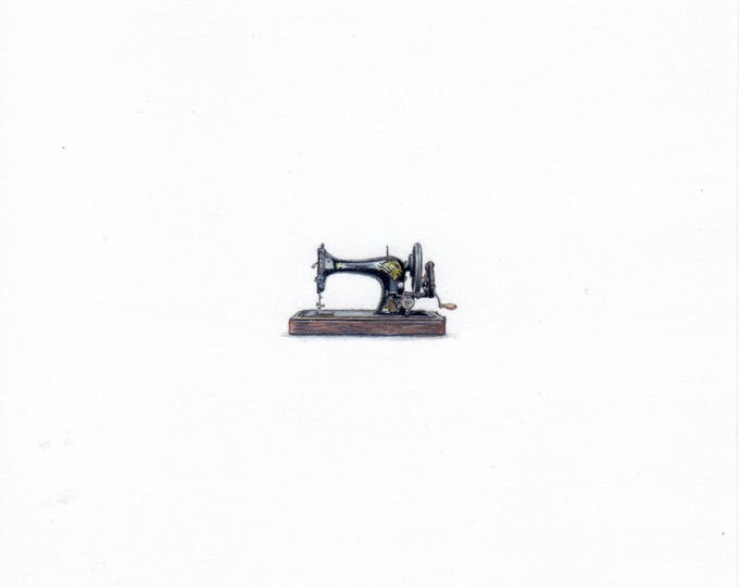 "Print of mini painting of a Vintage Sewing Machine. 1 1/4"" x 1 1/4"" print of original Sewing Machine painting on 5"" sq. german etching paper"