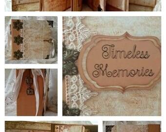 Timeless Memories Scrapbook Photo Album, 8.5 x 8.5 Scrapbook Album, Handmade Memory Book