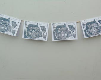 Hand printed grey lino cut 'Cottage' card design