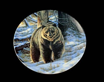 1988 Collectible Plate, Dominion China, Canada Big Game Collection, Grizzly Bear, Limited Edition, Decorative Plate, Wall Decor, New In Box
