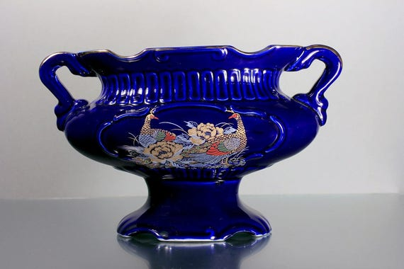 Japanese Vase, Gold Peacocks, Cobalt Blue, Urn, Planter, 2 Handled, Pedestal