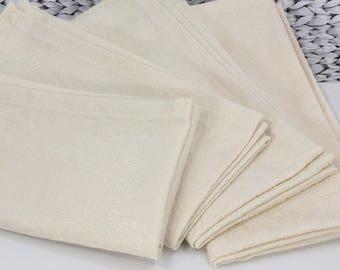 Ivory cloth napkins, large dinner napkins, jacquard lace fabric, formal guest napkins, elegant decor, holiday table napkins, 18x18 set of 4