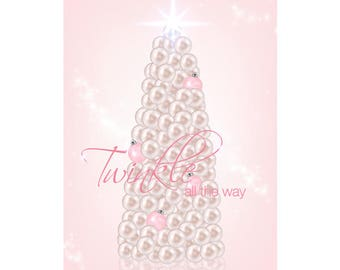 Pastels and Pearls Christmas Poster - Downloadable Print