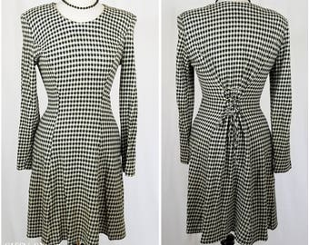 Black and white checked plaid long sleeve dress with flared skirt - Large
