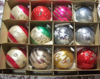 Twelve Large Shiny Brite Christmas Ornaments