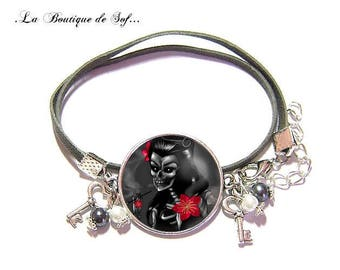 Bracelet 2 turns with a glass cabochon 25 mm * skull * (310517)