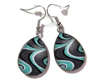Drop earrings with glass cabochon 18 x 25 mm (050218)