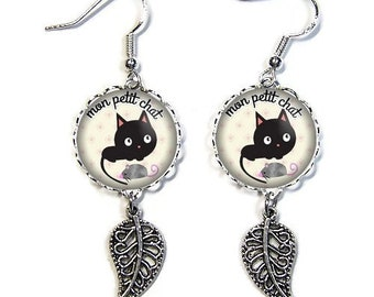 925 Sterling Silver hooks: 18 mm cabochon posts * cat * (070218)