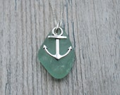Seafoam Green Edgewater Beach Glass and Anchor Charm Necklace