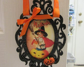 DOUBLE-SIDED Wood Frame Retro Witch Halloween Ornament-Halloween Decor-Witch Decor-Halloween Ornament