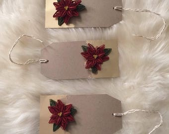 Poinsettia Gift Tags - Gold