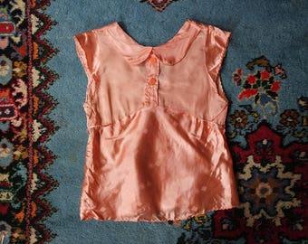 Vintage 1930s Satin Top - Pattern Pajama Top - Blush Pink Liquid Satin Blouse