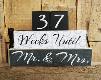 Countdown  blocks, days until (weeks until) Mr. & Mrs., Our Wedding, I Do, We Do, Anniversary countdown, Wedding countdown, Our Anniversary