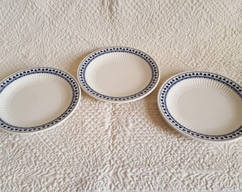 Set of Three Adams English Ironstone BREAD and BUTTER PLATES in Brentwood Pattern, Blue Clover