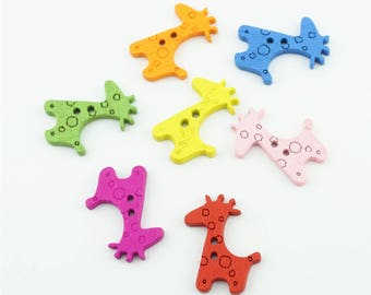 100pcs 25x20mm Mixed Color Wood Buttons Wooden Cute Giraffe Button Accessories NK