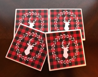 Drink Coasters, Buffalo Plaid Deer Head Coasters, Deer Coasters, Red Plaid Deer Coasters, Rustic Decor, Holiday Decor, Wildlife Coasters