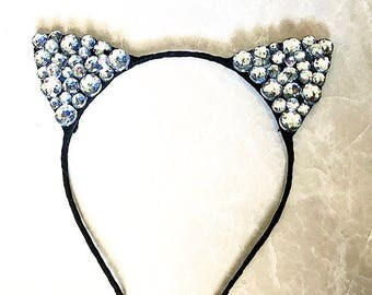 Rhinestone kitty ears, rave kitty ears, rave accessories, edc outfit, rave outfit, kitty headband