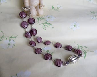 Beaded NECKLACE flat MURANO plum and cream spiral.
