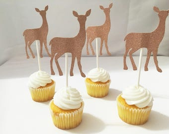 Holiday deer Cake Cupcake Decorative Cupcake Picks Cake Toppers Baby Shower Cupcake Toppers party supplies