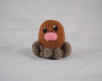Diglett Pokemon Fan Art - Needle Felt Collections