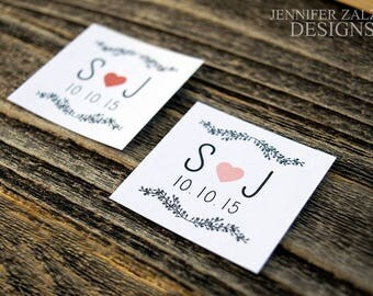 Wedding Initial Stickers | Wedding Favor Stickers | Wedding Labels | Favors | Envelope Seals | Personalized