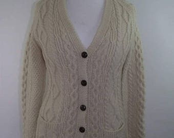 summer sale Vintage Aran Knit cardigan pure new wool cable Irish Hand Knit cardigan size small