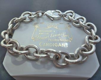 "A superb chunky mens silver bracelet - 925 - sterling silver - 7"" - 27.5 grams"