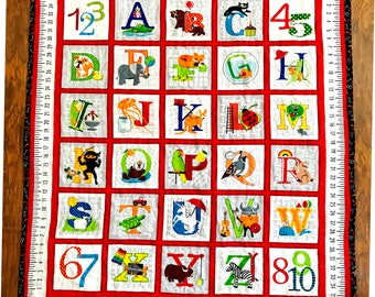 "New Bright ABC Alphabet 36""W x 44L"" Baby Crib Toddler Stippling Quilt 100% cotton Blanket Bedding Napping Blanket"