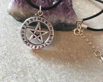 Rune pentagram , rune pendent , pentagram necklace , wicca Jewellery , pagan jewellery