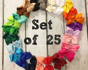 10% OFF!! 5-inch bows - Set of 25- Bow Clips, Alligator Clips, Girl Bows, Cheap Bows, Baby Bows, Dollar Bows, Little Girl Bows, Hair Bows