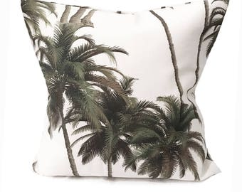 Tropical Cushion- Palm Trees- Tropical leaves- Green and White- Tropical Pillow- Tree Pillow- Tree Cushion - Palm Tree- Tropical Print