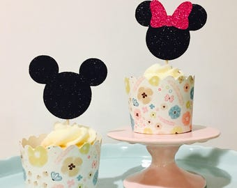 12ct Minnie and Mickey cupcake toppers, 12ct Minnie cupcake toppers, Mickey cupcake toppers