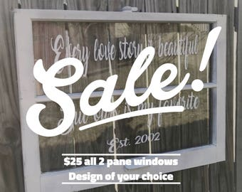 ON SALE Wood window frame - wedding picture frame - wood windows - 2 pane wood window - framed quotes - wall art quotes - vinyl wall decals