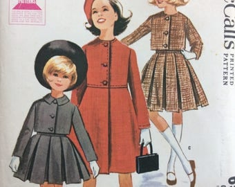 McCall's 6549 girls coat or jacket and pleated skirt size 10 vintage 1960's sewing pattern Uncut  Factory folds